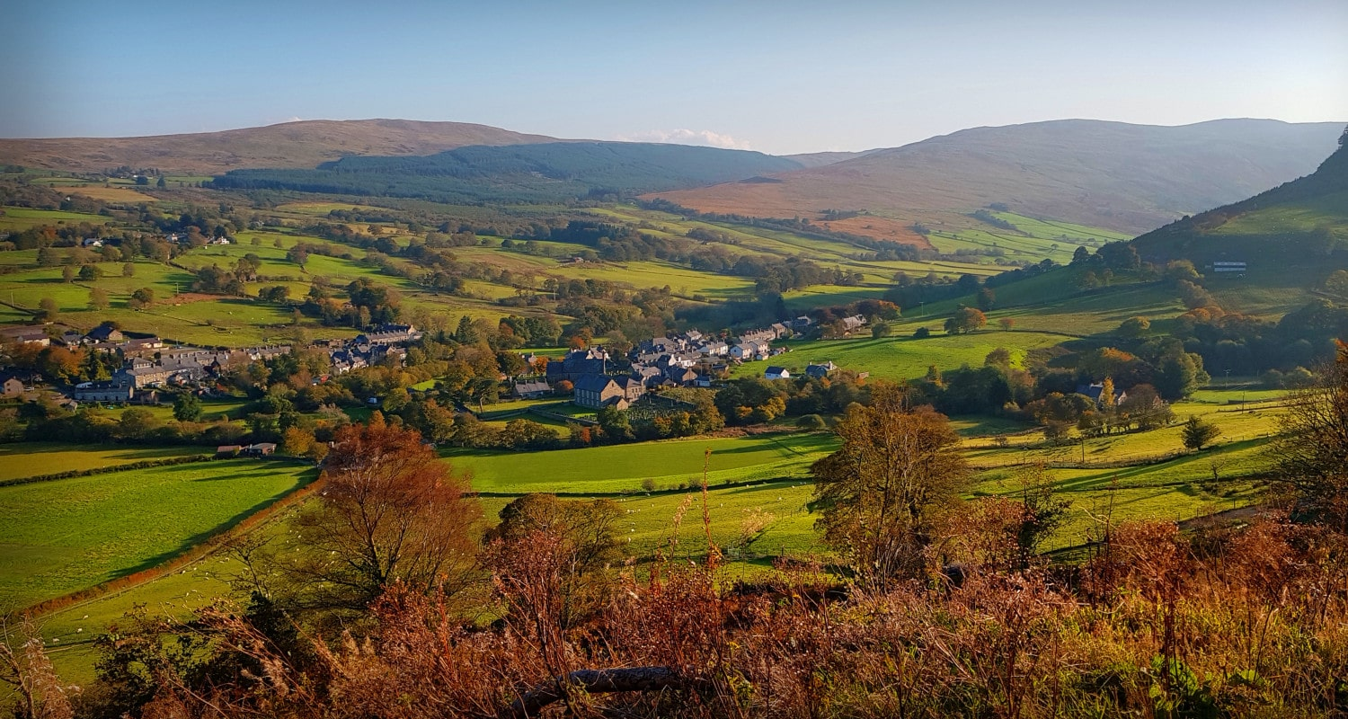 The village of Penmachno from the forest